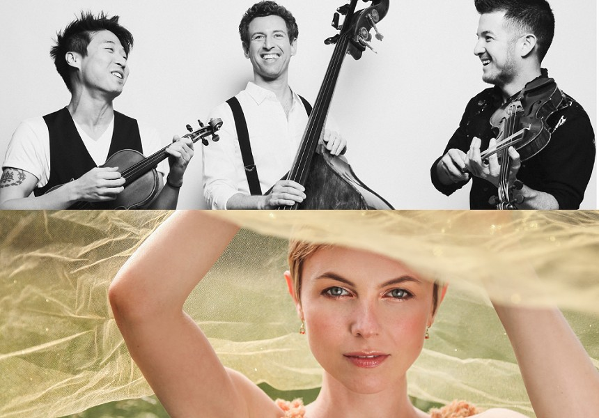 The 2019-20 Kilbourn Concert Series lineup includes Time for Three (top) on October 10 and jazz vocalist Kat Edmondson on November 13, - PHOTOS PROVIDED