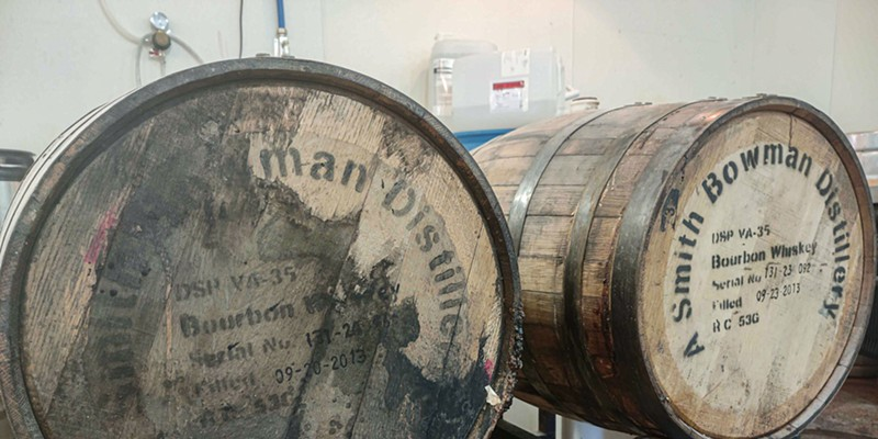 Barrels for the upcoming Tsar Wars imperial stout at Roc Brewing Company.