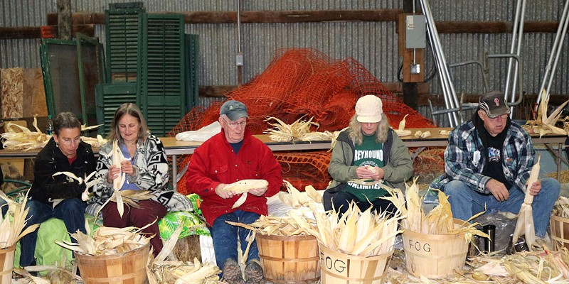 The annual Iroquois White Corn Project includes a post-harvest husking bee, during which volunteers can assist with braiding corn leaves in preparation for hanging and drying.