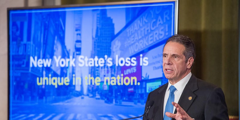 Gov. Andrew Cuomo gives his budget address on Jan. 19, 2021.