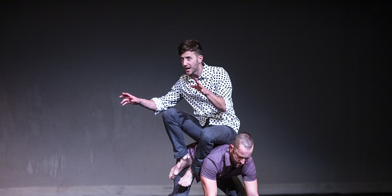"""Darren Stevenson and Ashley Jones of PUSH Physical Theatre perform """"Generic Male"""" at JCC CenterStage Theatre on Sept. 23, 2021 as part of Rochester Fringe Festival."""