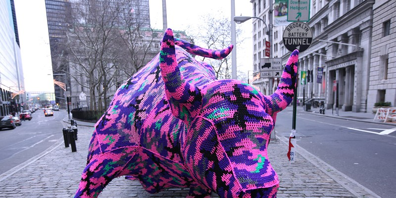 Olek Wall Street Bull, wrapped in crochet by Olek. PHOTO COURTESY OLEK
