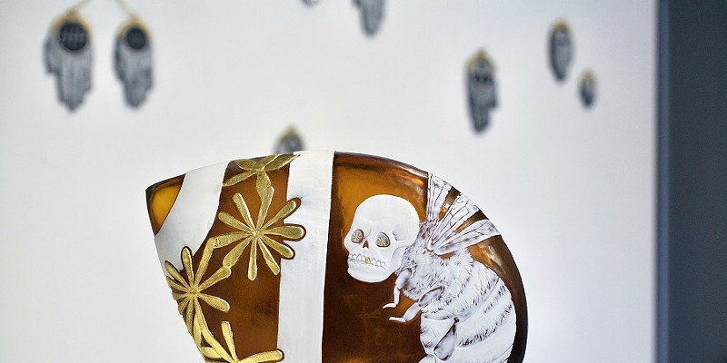 """""""Sarah Gilbert: Signs and Signifiers"""" """"Off the Beaten Path"""" plus installation view of Sarah Gilbert's """"Signs & Signifiers"""" exhibit at More Fire Glass Studio. PHOTO COURTESY JENNIFER SCHINZING"""