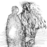 """""""Bill Stephens: Drawing from Within"""" Bill Stephens's ink drawing, """"Mother and Son,"""" includes heavy textures and patterning that form spirit-figures. PHOTO PROVIDED"""