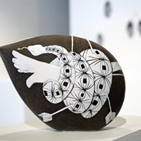 """""""Sarah Gilbert: Signs and Signifiers"""" Sarah Gilbert's """"Beating the Goat"""" is made of blown and engraved glass. PHOTO COURTESY JENNIFER SCHINZING"""