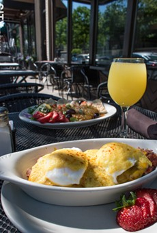 The house-made hash benedict and mimosa at Jines.