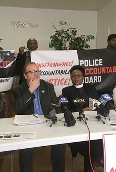At a September press conference, Police Accountability Board Alliance members said they're optimistic about the results of the Locust Club's suit. (From left: Phyllis Harmon, Ted Forsyth, Wanda Wilson, and Markeisha Jackson.)