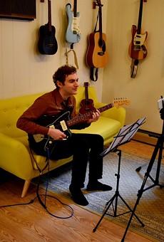 Ben Morey teaching virtually, from The Submarine School of Music's new Brighton location.