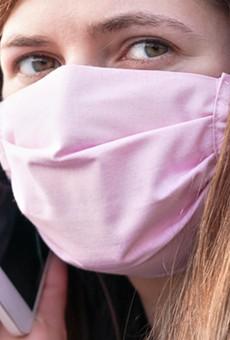 A homemade cloth mask.