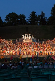 The Pageant began in 1937 as a production lit by car headlights; now it has a seven-tier steel stage built into the side of the hill, state-of-the-art special effects that simulate lightning and fire, 12 theatrical lighting and sound towers rising 50 feet into the air, and a completely volunteer cast of 770 people playing more than 1,200 roles.
