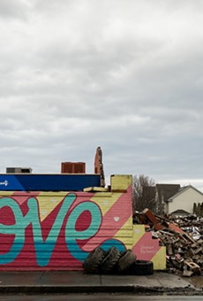 The remains of the former City Blue Imaging builidng on Scio St. from the morning of Monday, Dec. 28.