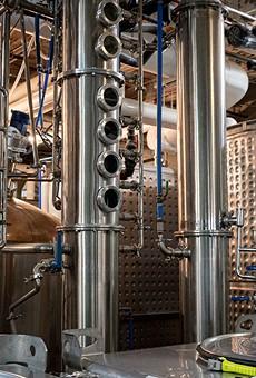Master Distiller Jeff Fairbrother explains how column stills at Black Button Distilling on Railroad Street work.