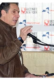 Governor Andrew Cuomo speaking at a New York City Housing Authority pop-up vaccination site on Saturday, January 23, 2021.