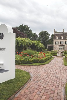 """Installation view of one of three stairs installed on the grounds of George Eastman House, as part of the """"Peter Greenaway — Stairs 1: Geneva, the Location"""" exhibition."""
