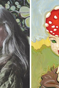 "Left: Artist Lucinda Storms in front of one of her largescale paintings of apples. Right: Storms' painting, ""Amanita M."""