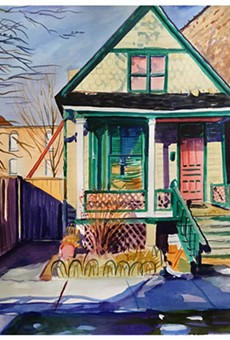 """Emily Rapport's watercolor, """"House with Green Trim,"""" is part of the """"House and Home"""" group show currently on view at Main Street Arts. A slideshow of more images is available online at rochestercitynewspaper.com."""