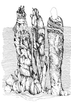 """""""Three Ancestors,"""" an ink drawing by Bill Stephens as part of his show, """"Drawing from Within,"""""""