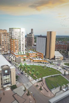 Gallina Development's plan for Parcel 5 includes a 14-story tower for condominiums and retail space and green space for public use.