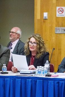 Board President Van White, left, Superintendent Barbara Deane-Williams, and board Vice-President Cynthia Elliott.