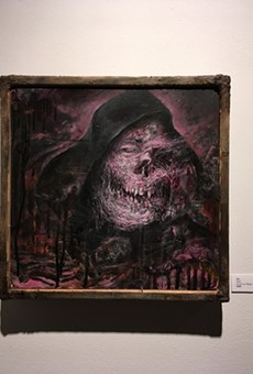 """Bile's painting, """"Kept,"""" is just one gruesome part of """"Unadulterated Overkill,"""" a monster-themed group show at Makers Gallery and Studio Space."""
