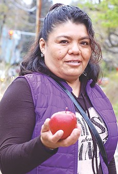 Apple farm worker Dolores Bustamante, an undocumented immigrant, fled Mexico with her daughter 13 years ago. She was pulled over for speeding in 2014 and now faces deportation.