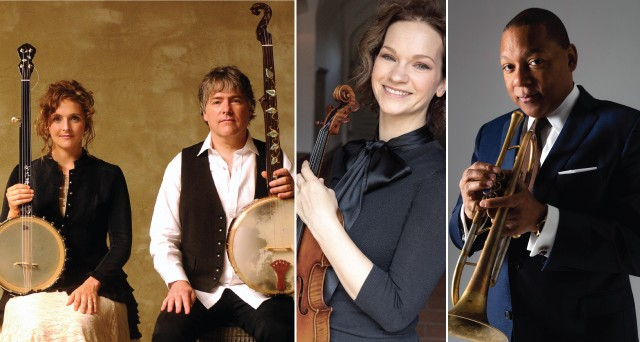 The 2019 Skaneateles Festival includes performances from (left to right) banjo duo Béla Fleck & Abigail Washburn, violinist Hilary Hahn, and trumpeter Wynton Marsalis. - PHOTOS PROVIDED