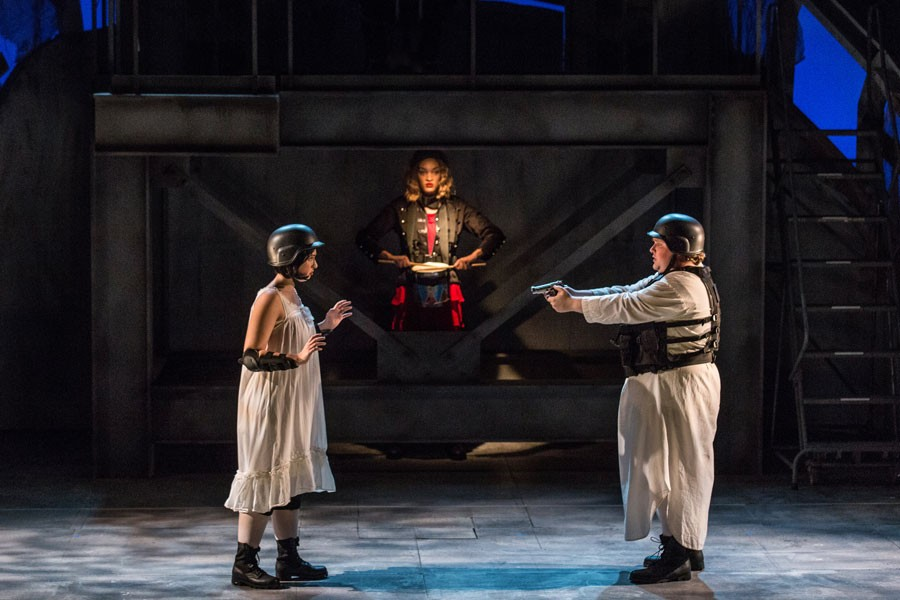 "(Left to right) Sophie Thompson, Alexis Peart, and Bergsvein Toverud in ""Der Kaiser von Atlantis."" - PHOTO AND LIGHTING BY NIC MINETOR"