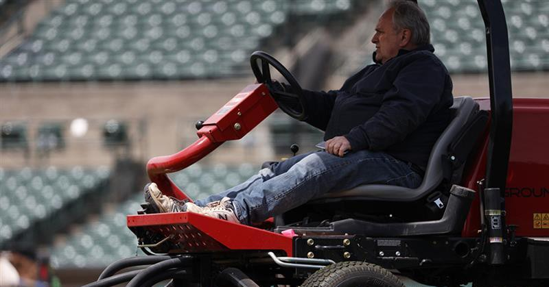 Gene Buonomo trims the grass at Frontier Field on what would have been the morning of a Rochester Red Wings homestand against the Columbus Clippers on May 5, 2020. - PHOT BY MAX SCHULTE