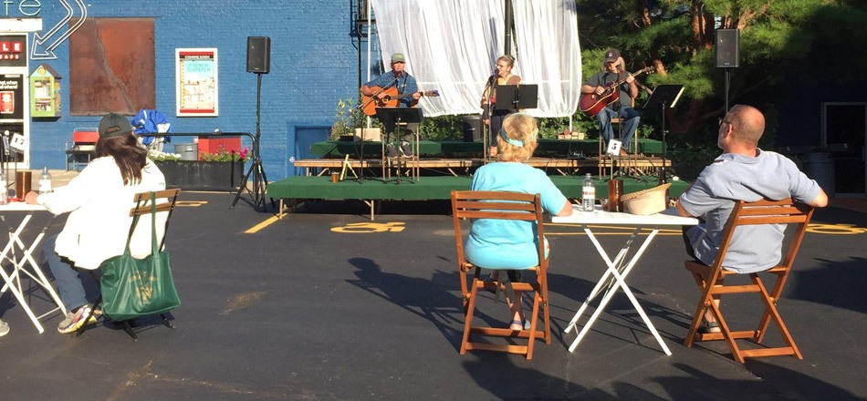 The Spring Chickens perform a physically distant show outside of The Little Theatre. - PHOTO BY JEFF SPEVAK