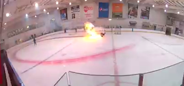 An ice resurfacing machine caught fire at Bill Gray's Regional Iceplex on Wednesday, Oct. 14, 2020. Footage of the incident went viral.