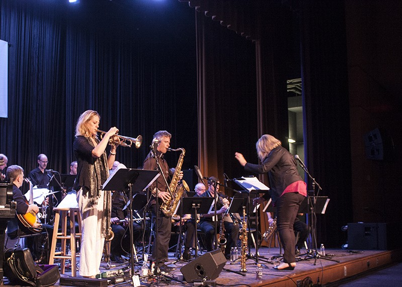 The Christine Jensen Jazz Orchestra, featuring Ingrid Jenson on trumpet, performed in Xerox Auditorium on the final night of the Xerox Rochester International Jazz Festival. - PHOTO BY ASHLEIGH DESKINS