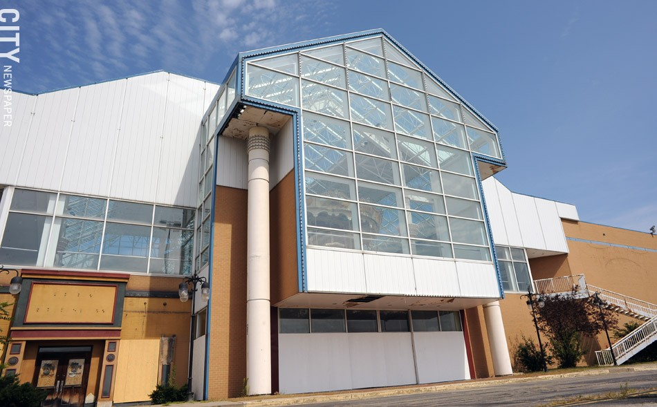 The facade of the former Medley Centre — the side facing the Route 104 expressway is shown here — will be overhauled as part of the property's conversion into Skyview on the Ridge. - PHOTO BY JEREMY MOULE