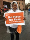 A participant in the YWCA's Stand Against Racism march.