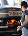 VOLO's brick, wood-fired Acunto Napoli oven is capable of flash-baking a pizza in just 60 seconds.