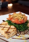 For the vegetarians, the Monticello is grilled tofu, and roasted heirloom tomatoes topped with balsamic glaze.