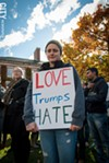"Tori Fox St. Jacques at the ""Not My America"" rally held in the University of Rochester's Eastman Quadrangle last week. Several hundred people turned out to protest Donald Trump's election."