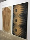Michael DeLucia carved into plywood panels using a router attached to a CNC machine; the panels are at once low-relief sculptures, potential printing plates, and prints.