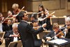 Ward Stare conducting the Rochester Philharmonic Orchestra.