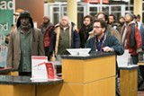"PHOTO COURTESY GREENWICH ENTERTAINMENT - Michael Kenneth Williams and Emilio Estevez in ""The - Public."""