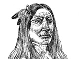 Drawing of Crazy Horse based on his sister's description ca 1930 - Uploaded by Bill