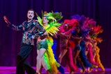 "PHOTO BY GOAT FACTORY MEDIA ENTERTAINMENT - Mark Cuddy as Georges with the Cagelles in Geva's production of ""La Cage Aux Folles."""