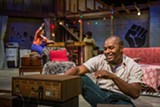 "PHOTO BY RON HEERKENS JR. - Laron Dewberry (foreground), Tahina McPherson, and Ashona Pulliam (background) in ""Detroit '67"" at Blackfriars Theatre."