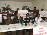 FILE PHOTO - At a September press conference, Police Accountability Board Alliance members said they're optimistic about the results of the Locust Club's suit. (From left: Phyllis Harmon, Ted Forsyth, Wanda Wilson, and Markeisha Jackson.)