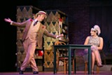 "PHOTO BY KEITH WALTERS - Dulcamara (Corey Crider) presents the ""elixir"" to Adina (Andrea Carroll) during the Finger Lakes Opera production of ""The Elixir of Love."""
