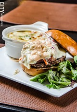 PHOTO BY MARK CHAMBERLIN - The Special burger with corned beef, Swiss cheese, and coleslaw.