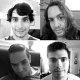 """PHOTO PROVIDED - Singer-songwriter Jon Lewis (top left) worked with bassist and producer Dave Drago (top right), guitarist Shawn Brogan (bottom left), and drummer Jake Walsh (bottom right) on his new album, """"Panic Rock."""""""