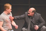 "PHOTO BY COLIN HUTH - John Ford-Dunker (left) as Ken and Stephen Caffrey (right) as the painter Mark Rothko. The two appear on stage in ""Red"" at Geva Theatre Center."
