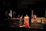 """PHOTO COURTESY JERRY ARGETSINGER - (Foreground left to right) Tom Weyman, Adrian Svenson, Meredith Lipman, Jen Moore, and Katharyn Head appear in """"Tribes"""" on stage at NTID. (Background left to right) ASL interpreters Jim Orr and JoEllen diGiovanni."""