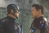 "PHOTO COURTESY WALT DISNEY STUDIOS - Chris Evans and Robert Downey Jr. in ""Captain America: - Civil War."""