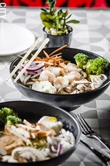 PHOTO BY MARK CHAMBERLIN - The new Plum House Cafe in Village Gate fits into the growing trend of restaurants offering build-your-own dishes, like the soup bowls which can be customized with your choice of noodles, protein, vegetables, and spices.